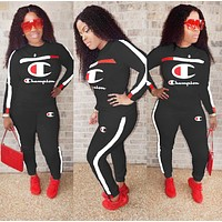 Champion Fashion New Letter Long Sleeve Sports Leisure Top And Pants Two Piece Suit Women Black