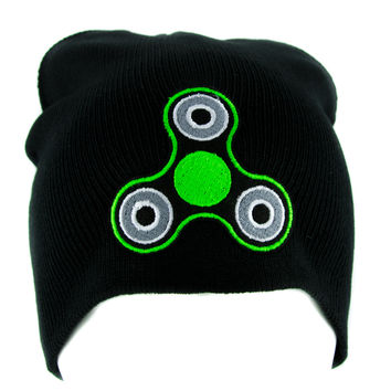 Green Fidget Spinner Beanie Knit Cap Alternative Clothing Stress Relieving Toy Style