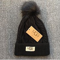 UGG Fashion Autumn Winter Warm Women Men Leisure With Small Ball Wool Thick Knit Hat Cap Black