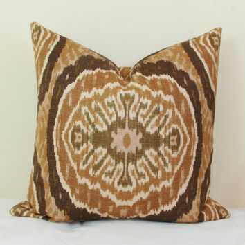 Tan olive ikat throw pillow covers 18x18 20x20 pillow cover 24x24 pillow cover 26x26 pillow cover Euro sham ikat Lumbar pillow 16x26 16x24