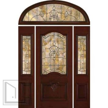 jeld-wen 412 carved Mahogany Door and Sidelights Transom
