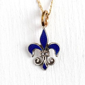Fleur de Lis Necklace - Antique Edwardian Sterling Silver Stick Pin Conversion Pendant - 1900 Blue Guilloche Enamel Seed Pearl Charm Jewelry
