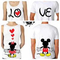 LOVE Mickey and Minnie's Backs Couples Matching by sprawlinktees