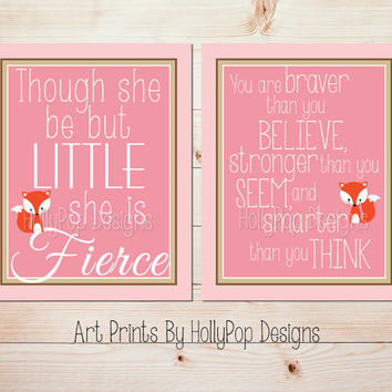 Nursery Decor Though She be But Little You are Braver Baby Girl Nursery Wall Art Fox Nursery Pink Brown Prints Nursery Duo Print Set #0635