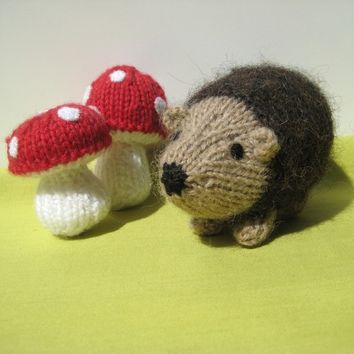 Kensington Hedgehog and toadstools toy knitting patterns, instant download