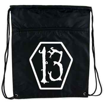White Lucky 13 Coffin Cinch Bag Drawstring Backpack Goth Punk Occult