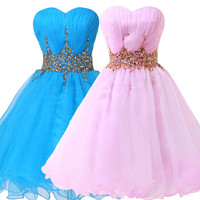 short blue homecoming dresses 2017 grace karin sweetheart beading for students graduations short formal homecoming dresses pink