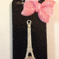 Black iPhone 5 sparkle case with Eiffel Tower and pink bling bow