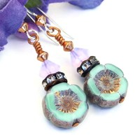 Mint Green Pansy Flower Earrings, Lavender Opal Swarovski Handmade Summer Jewelry