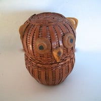 Vintage Owl Basket Small Removable Top  3 And  3/8 Inches Tall  X  2 inches Wide