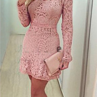Long Sleeve Lace Keyhole Dress