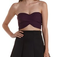 Eggplant Strapless Double Sweetheart Crop Top by Charlotte Russe