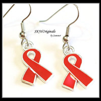 Red Awareness Ribbon Earrings - Womens Earrings - Survivor Earrings - Cancer Survivor Jewelry Charms - Christmas Sale