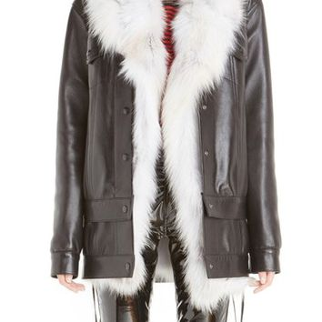 Anthony Vaccarello Long Leather Jacket with Removable Genuine Fox Fur Vest | Nordstrom