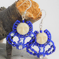 Cream Moon Face Royal Blue Beaded Dangle Earrings I Women Sparkle Blue Dangle Earrings I Women's Pierced Sterling Silver Ear Hooks Earrings