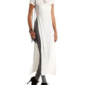 Short Sleeve Side Slit Maxi Tee by Charlotte Russe - Ivory