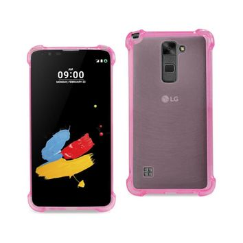 New Clear Bumper Case With Air Cushion Protection In Clear Hot Pink For LG Stylus 2