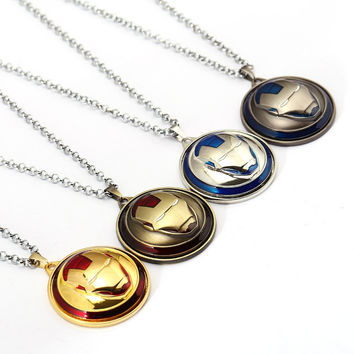 Julie Rotatable Movie The Avengers Iron Man Mask 4 Colors Round Pendant Long Necklaces for Womem Men Cosplay Accessories Jewelry