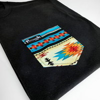 Patchwork Apparel — Blue Aztec Pocket Tee Unisex