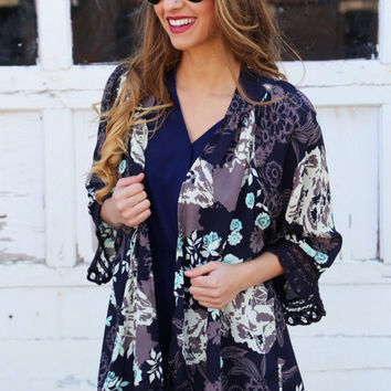 Black Floral Print Open Front Lace Hem Cover Up