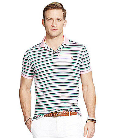 Polo Ralph Lauren Striped Pima Soft-Touch Polo Shirt - Taylor Rose/Mul