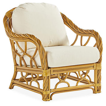 New Twist Rattan Club Chair, Natural/White - South Sea Rattan - Brands | One Kings Lane