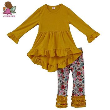 Fall Winter Fashion Toddler Girls Outfits Infant Yellow Ruffle Dress Kids Floral Pants 2 PCS Newborn Baby Girl Clothes Sets F103