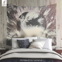 Wanderlust Mountains Wall Tapestry | Wanderlust Art Tapestry  | Boho Wall Tapestries | Abstract Wall Art | Moon Tapestry | 3 Sizes | Gifts