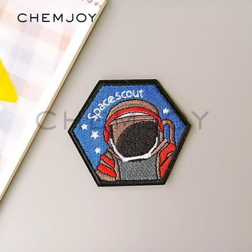 Astronaut Embroidered Iron Patch for Denim Jacket Sew Spaceman Applique Biker Patch Clothes Stickers Badges for Backpack Hats