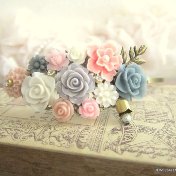 Pink Gray Wedding Headband Floral Hairband Bridal Fascinator Flower Soft Peach Blush Bohemian Shabby Chic Spring Fall Wedding Vintage Style