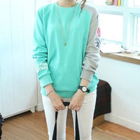 Sky Blue Cotton Korean Style Long Sleeve Round Neck Batwing Short Top Casual Women's Shirt Casual Sport Wear