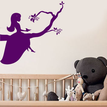 Vinyl Wall Decal Little Princess Girl Room Branch Nursery Stickers Unique Gift (ig4572)