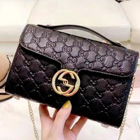 GUCCI new high quality women's embossed double G chain bag shoulder bag