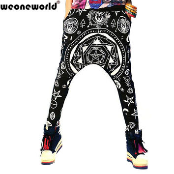 WEONEWORLD 2016 Summer Loose Harem Pants Women Drop Crotch Pants Hip Hop Dance Pants Punk Harajuku Rock Style Joggers