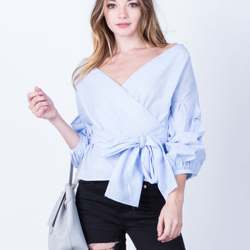 Puffy Sleeves Striped Blouse