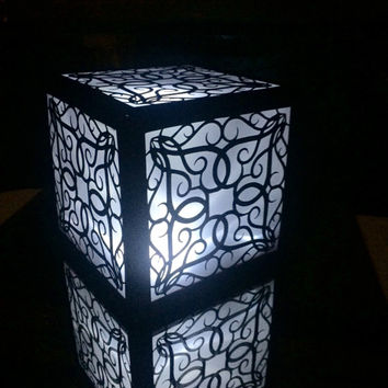 detailed romantic filigree window lantern luminary centerpiece lighting leaded glass gothic design