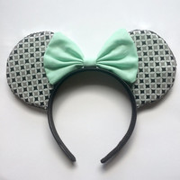 Black White and Mint Mickey Ears Minnie Ears by BowtiqueByAlexa