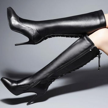 Women Winter Genuine Leather Thin High Heel Side Zipper Pointed Toe Lace Up Fashion Knee High Boots Size 34-39 SXQ1006