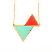 Twin Triangle Necklace - Neon Pink & Turquoise