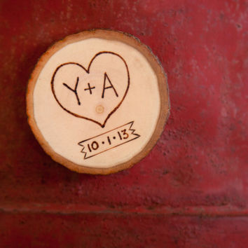 Custom wood slice magnet. Personalized wood burned heart & initials with date sign. Save the date magnet!! Perfect for engagement or wedding