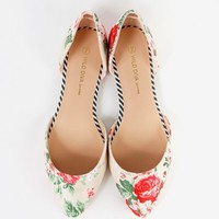 Pointy Toe Floral D'orsay Flats | MakeMeChic.com