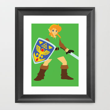 Link - The Legend of Zelda - Minimalist - Nintendo Framed Art Print by Adrian Mentus