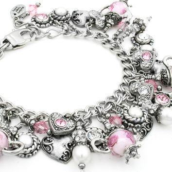 Pearl and Crystal Charm Bracelet