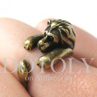 Miniature Lion Ring in Bronze Sizes 5 to 9 available | dotoly - Jewelry on ArtFire