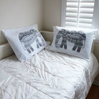 The Rise and Fall Elephants Pillow Case Set - Womens Scarves - White - One