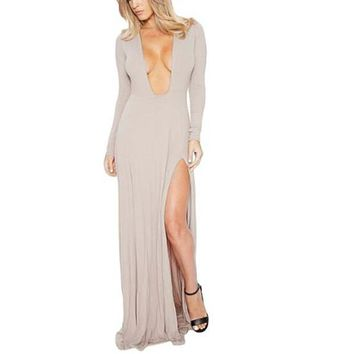 [15485] V Neck Double Slit Long Evening Dress
