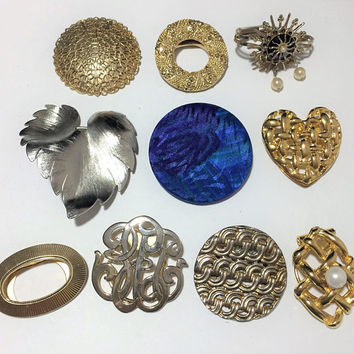Wholesale Lot 10 Scarf Clips, Gold and Silver Tone, Silk Heart Leaf Designs, Mid Century Scarf Accessory 818M