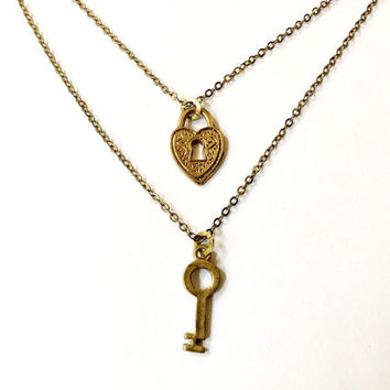 heart padlock and skeleton key layered necklaces (set of 2 necklaces)