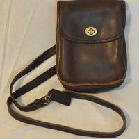 Vintage COACH Crossbody SIdepack Sling Scooter Bag Brown Leather Legacy Purse 9978 Authentic Made in USA