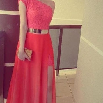 HZL_Pink One Shoulder Prom Dresses Lace One Slit Floor Length Evening Dresses New Style = 1956877508